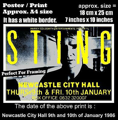 Sting The Police live Newcastle City Hall 9th 10th Jaunuary 1986 A4 poster print
