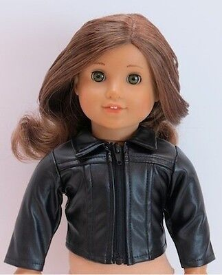 "Black Faux Leather Biker Motorcycle Jacket fits 18"" American Girl Dolls"