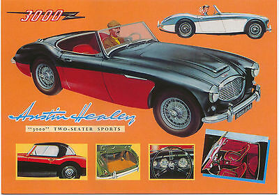Austin Healey 3000 Large Format MODERN postcard by Jenna