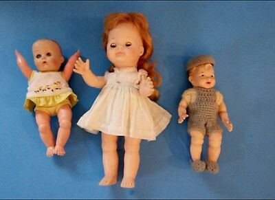 Vintage Dolls Set of 3 Two Girls One Boy