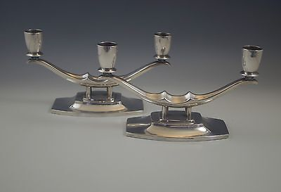 Art Deco Reed & Barton Pair Of Double Light Candelabras Candlesticks Silverplate
