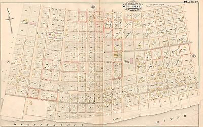 1883 New Orleans Louisiana Poydras Orphan Asylum Perrier St - Water St Atlas Map