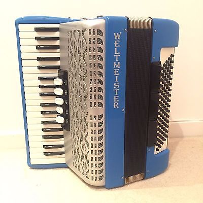 Weltmeister 80 Bass Piano Accordion (Blue) - Made in Germany