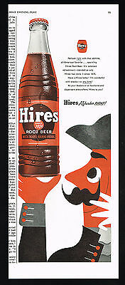 1955 Hires Root Beer Refreshes Right Bottle Vintage Print Ad
