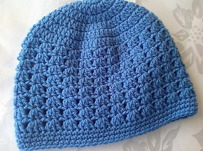 Sky blue CHILDRENS CROCHET BEANIE 3 - 5 yrs -  Made in WA
