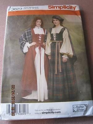 SIMPLICITY Medieval Dresses Sewing Pattern Andrea Schewe 3623 2007 Unused