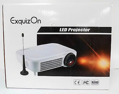 Exquizon 5018D LED 1080P 1280x800 3000 Lumnes Home Projector DVB-T2 HDMI USB