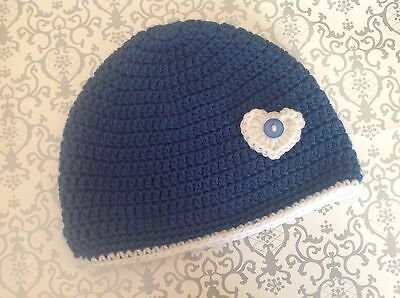 Deep blue CROCHET BABY BEANIE 1 to 2 yrs - made in WA