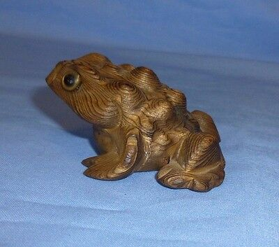 """Wood, Hand Carved Frog Horned Horny Toad Glass Eyes, Cryptomeria Wood 2.5 X 2.0"""""""