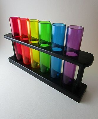 6 Test Tube Set Rainbow Plastic With Black Stand Unbranded Science Toy