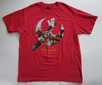 Star Wars The Force Awakens Red Men's T-Shirt Size Large Polycotton