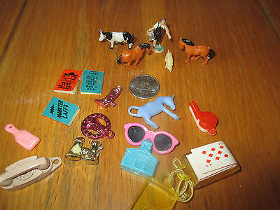 lot of vintage miniature gumball cracker jack prizes charms animals cards books