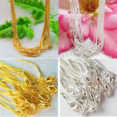 Wholesale 5/10Pcs Metal Lobster Clasp Snake Chain Necklace Jewelry Making 43cm