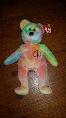 TY Beanie Baby Peace Bear VERY RARE Original Collectible With Tag Error