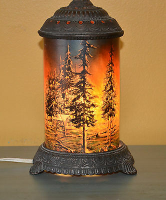 Antique Forest Fire Motion Lamp Scene In Action Corp Chicago Vintage NICE SHAPE
