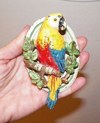 Vintage Petite Small Parrot Door Knocker Cast Iron Chippy Original Colorful Pain