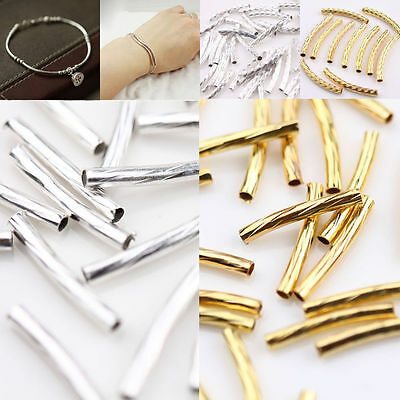New Curved Tube Metal Elbow Noodle Spacer Loose Bead Craft Jewelry Making 2Color