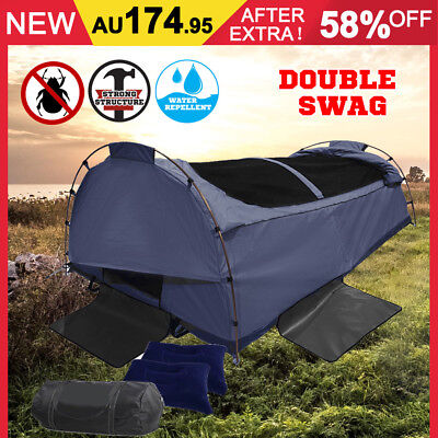 Double Swag Camping Canvas Tent Swags Deluxe Aluminum Poles Pillow Bag