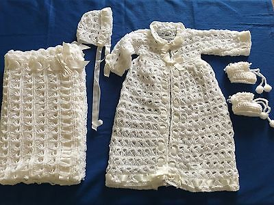 Vintage 4 Pc White Baby Crochet Blanket Sweater Cap Booties Set
