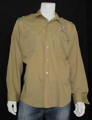Men Boy Scout CANADA Shirt Burlington Ontario Troop Long Sleeve with Patches XL