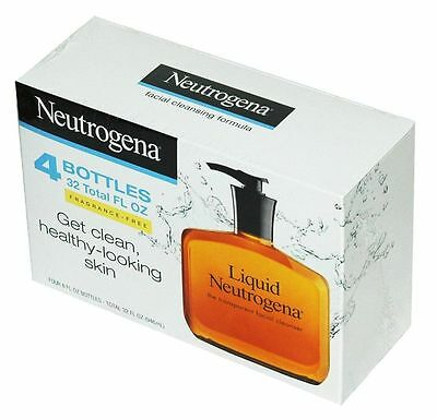 Neutrogena Fragrance Free Liquid Facial Soap Cleansing Formula, New 4 pack, 8 Oz