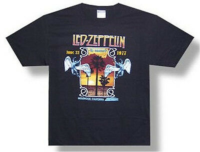 """Led Zeppelin  """"inglewood"""" 1977 Distressed Image Black T-Shirt New Adult Small"""