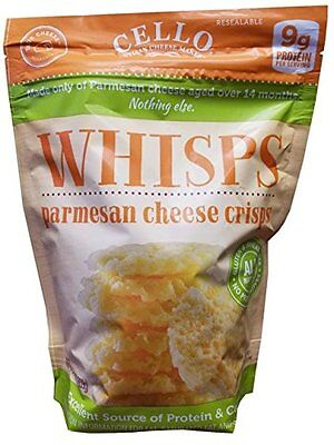 Cello Artisan Cheese Makers WHISPS Pure Parmesan Cheese Crisps, 9g of Protein No