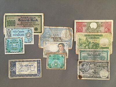 Belgian, French, Dutch & German Paper Money, 1922-1944, Francs, Marks, Gulden