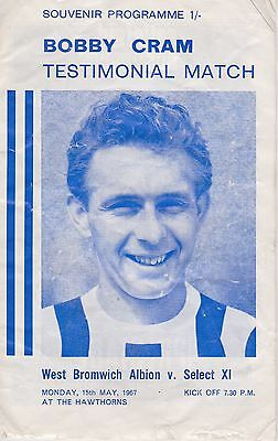 BOBBY CRAM TESTIMONIAL ~ WEST BROMWICH ALBION v SELECT XI ~ 15 MAY 1967