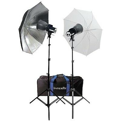 Interfit INT114 SXT3200 Twin Head + Umbrella Kit 500w Tungsten