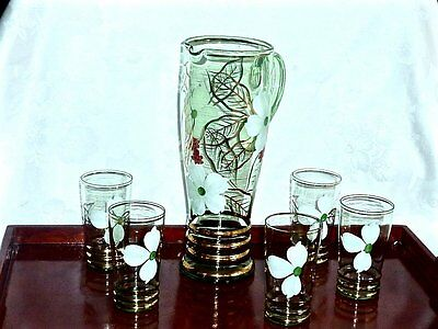 Stunning  Retro Crystal  Water / Lemonade Set Bohemia C 1950's
