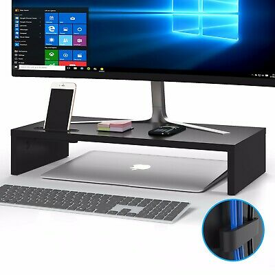 Wood Monitor Stand Speaker TV PC Laptop Computer Screen Riser Desk Storage Black