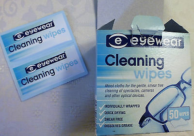 50 Individual Wrap Cleaning Wipes for Clean, clear Lenses, Screens, Cameras etc