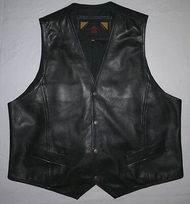 HIGH QUALITY 90's VINTAGE SOFT BLACK LEATHER WESTERN STYLE WAISTCOAT GILET XL