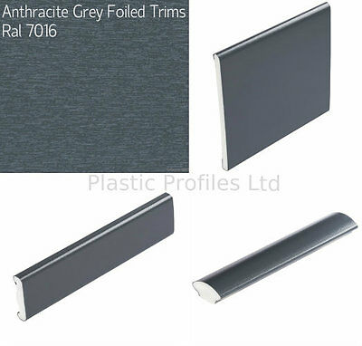 GREY ANTHRACITE PLASTIC WINDOW TRIMS UPVC BEADING VARIOUS SHAPES 5m - 2 X 2.5m