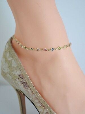 So Very PASTEL MULTI COLOR STONES 14Kt Gold ANKLET ANKLE BRACELET  9 THRU 12.5