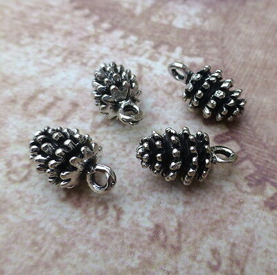 Pack of 6 Antique Silver Charm Pine Cone Nature Charms