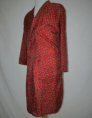 CLASSIC 80's VINTAGE SAMMY RED SATIN PAISLEY DRESSING GOWN ROBE SMOKING JACKET M