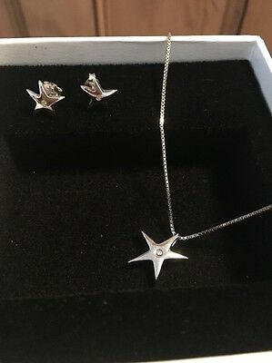 Hot Diamonds Sterling Silver Star Necklace And Earrings Set Never Worn