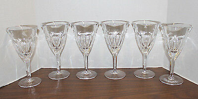 "Set 6 Heisey Colonial 8 Oz / 7 3/4"" Crystal Wine Glasses; 6 Panel; Excellent!"