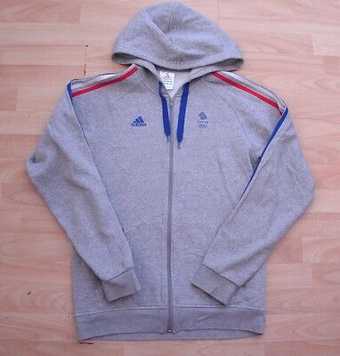 TEAM GB OLYMPIC adidas LIGHT GREY HOODED TRACKSUIT JACKET TOP SMALL ADULT