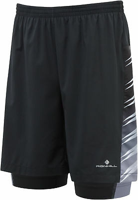 Ronhill Advance 2 in 1 Twin 7 Inch Mens Running Shorts - Black