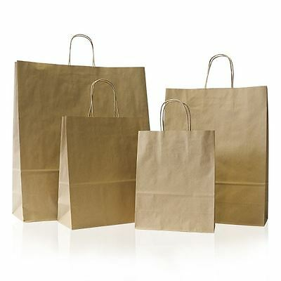 100 x Brown Paper Party Bags +Twisted Handles Large 26x34+11cm