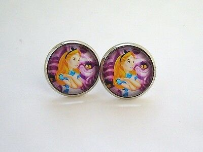 Alice In Wonderland Pink Cheshire Cat Glass Stud Earrings Silver In Gift Bag