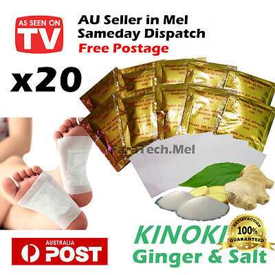 20 x Detox Kinoki Foot Patch Pad Ginger & Salt Extract Toxin Removal Weight Loss