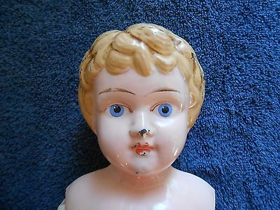 "Antique Karl Standfuss Early 1900's JUNO German 20"" tall Tin/Metal Head doll"