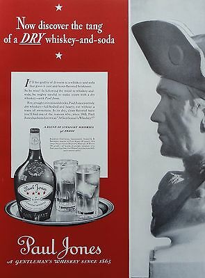 1937  PRINT AD PAUL JONES WHISKEY discover the tang of a dry whiskey and soda