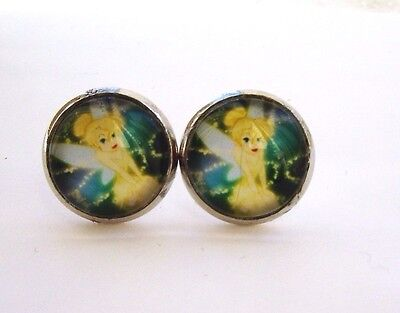 Tinkerbell Fairy Glass Stud Earrings Silver In Gift Bag