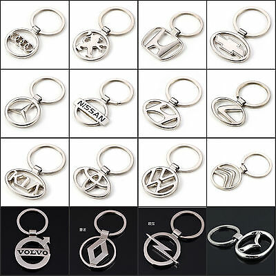 Fashion Mens Car Logos Auto Part Alloy Metal Titanium Keyrings Keychain Keyfob