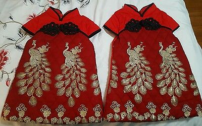 chinese dress girls traditional red phoenix embroidery